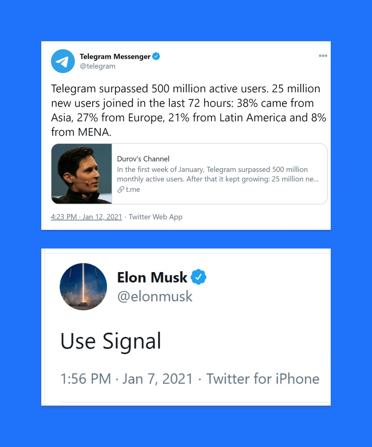 Durov on Telegram Musk on Signal