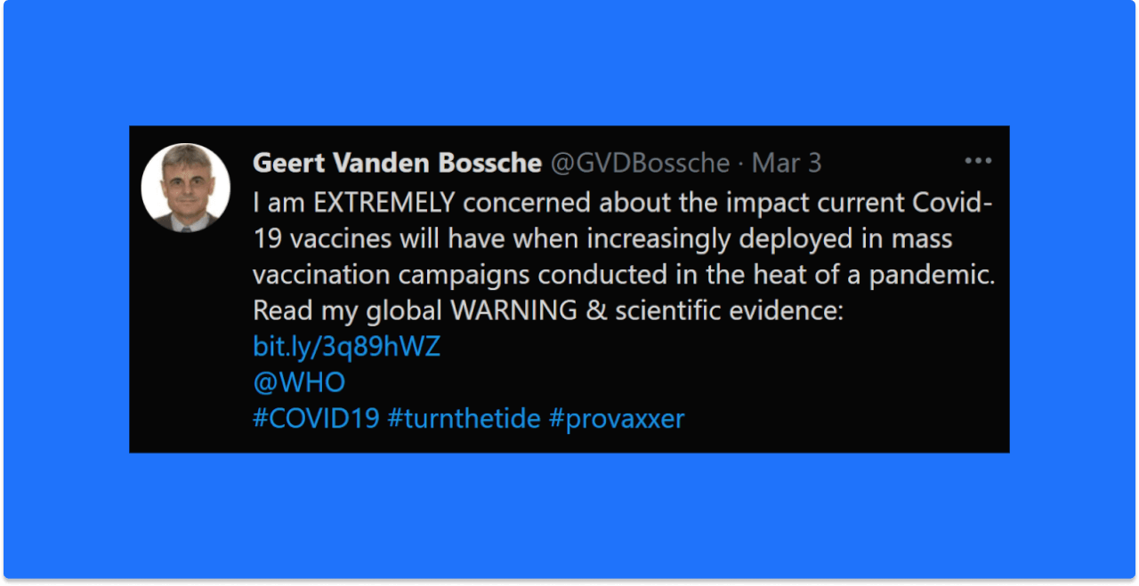 Geert Vanden Bossche March 3 Tweet EXTREMELY Concerned