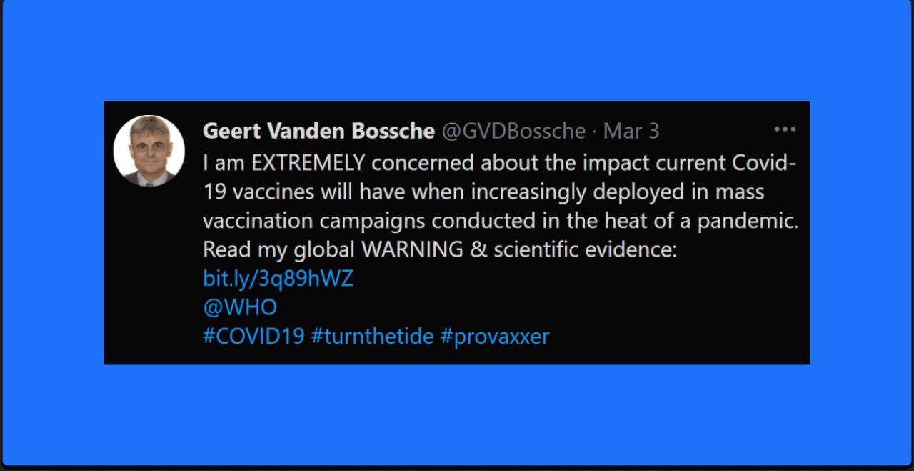 Geert Vanden Bossche March 3 Tweet EXTREMELY Concerned